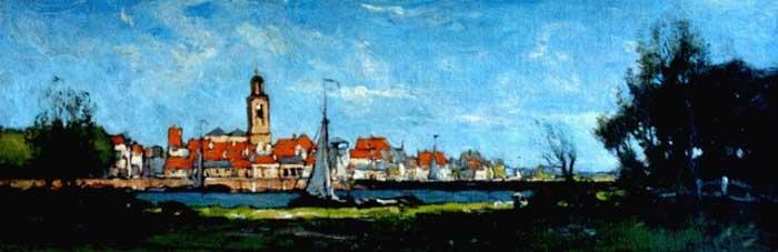 Paul Bodifée Gezicht op Deventer Schilderij uit 1900